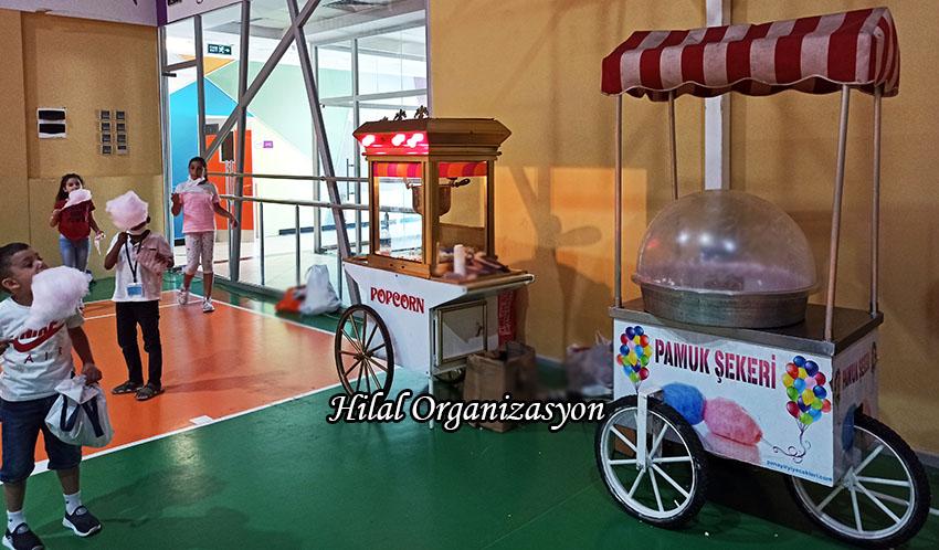 pamuk şeker arabası ve popcorn kiralık