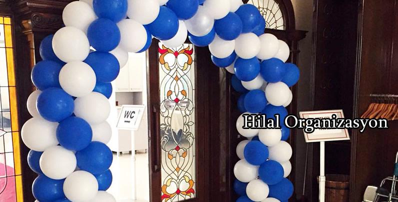 mavi beyaz balon süslemeleri