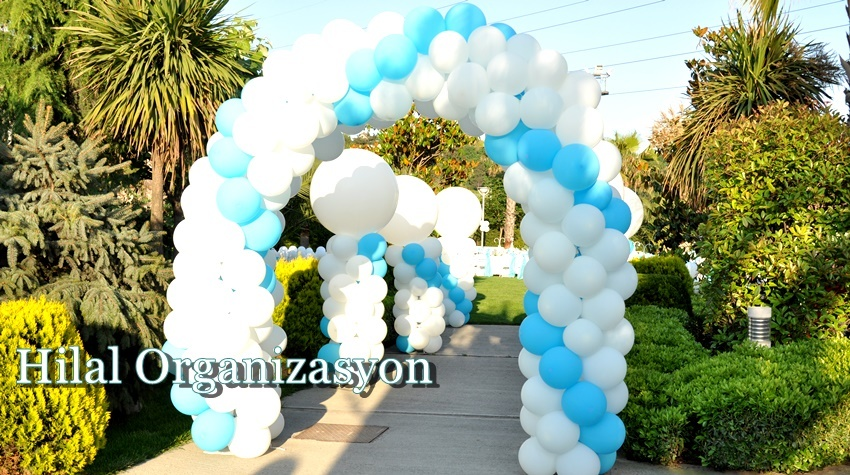 zincir balon süsleme mavi beyaz