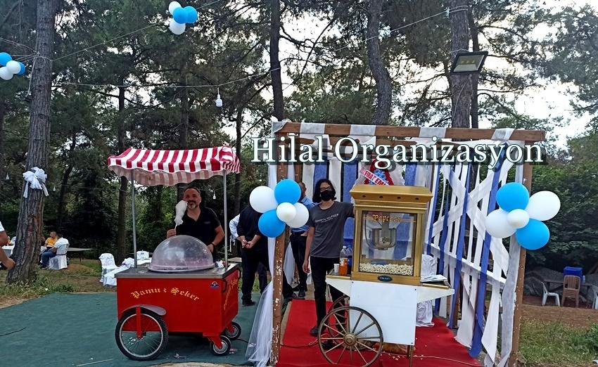 sünnet organizasyonu pamuk şekeri ve popcorn arabası