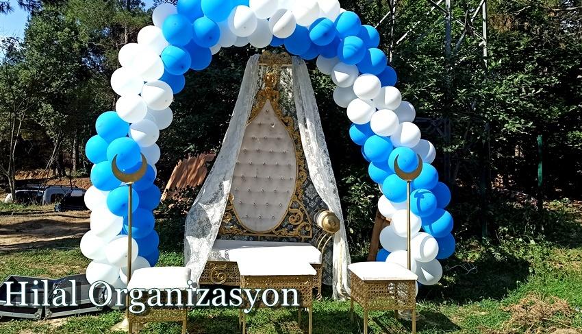 mavi beyaz balon beyaz sünnet koltuğu